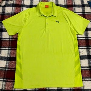 Men's puma sports style neon green polo shirt